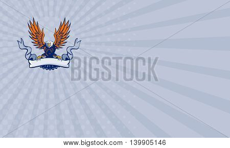 Business card showing illustration of a bald eagle with wings spread swooping holding scroll ribbon using its talons done in retro style.