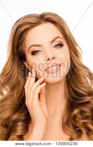 Portrait Of Attrective Beautiful Woman Touching Skin On Face
