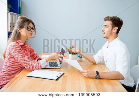 Business Partners Working At New Financial Project In Office