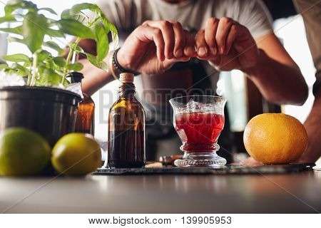 Bartender Preparing Negroni Cocktail