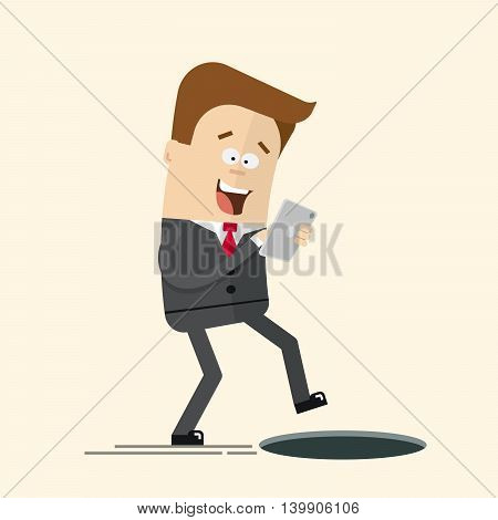Phone relationship. Smartphone addiction. Manager or a businessman with a telephone in danger. Open manhole. The man was trapped. Unpleasant unexpected surprise