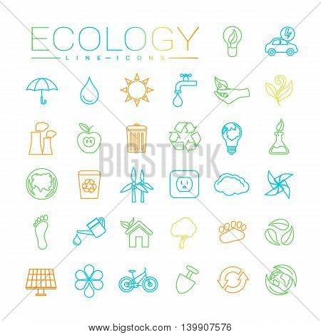 Ecology concept line style vector icons set.