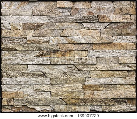 Slate Stone Wall Brown Texture In The Park.