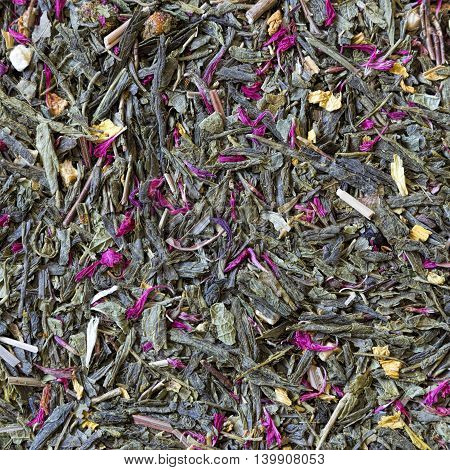 background from a mixture of tea flowers and dried fruit