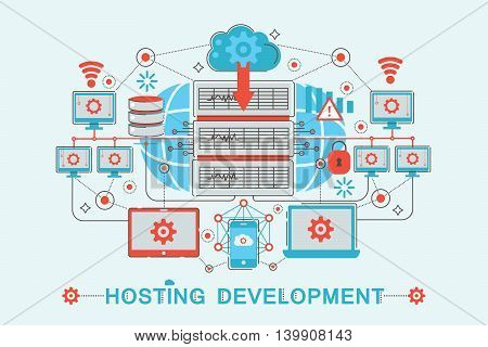 Modern graphic flat line design style infographics concept of Hosting development with icons, for website, presentation and poster