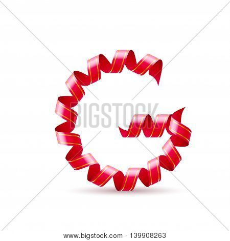 Letter G made of red curled shiny ribbon