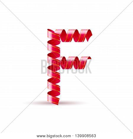 Letter F made of red curled shiny ribbon