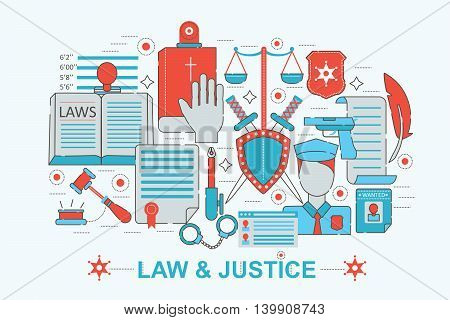 Modern Flat thin Line design Law and justice concept for web banner website, presentation, flyer and poster