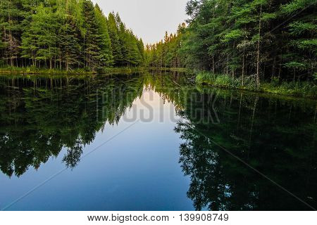 Wilderness Forest River Reflections. River flows through the wilderness of Michigan's Upper Peninsula forest. The river flows from Kitch iti kipi spring into Indian Lake. Palms Book State Park, Manistique, Michigan.