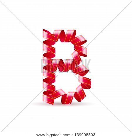 Letter B made of red curled shiny ribbon