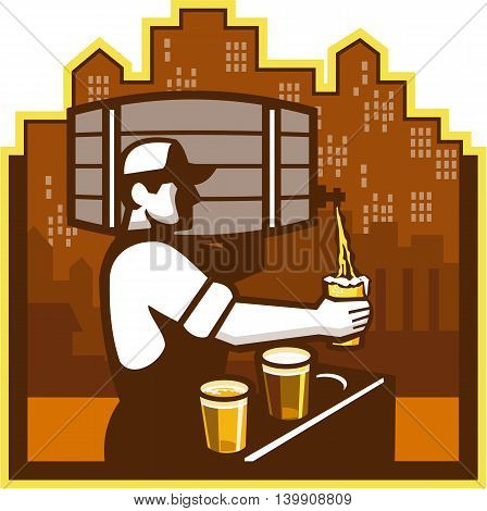 Illustration of bartender carrying keg on shoulder pouring beer from keg viewed from the side with beer glass and beer flight and cityscape buildings in the background done in retro style.