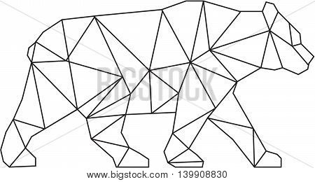Low polygon style Illustration of an American black bearUrsus americanus a medium-sized bear native to North America walking viewed from side set on isolated white background done in black and white.