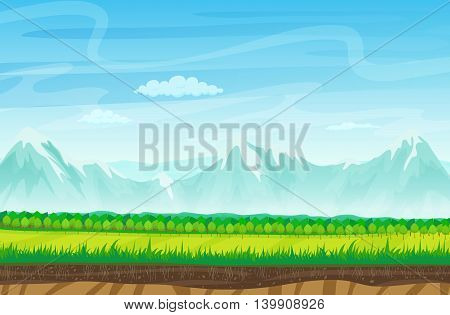 Seamless cartoon landscape with rocks, mountains and grass. Landscape for game