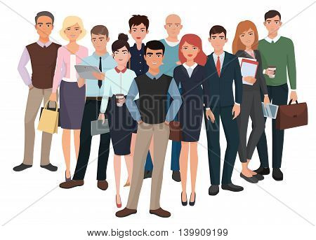 Group of men and women. Business creative team with leader. Business office people. Corporate communication structure