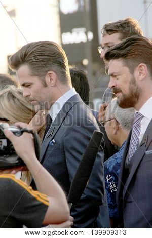 Chris Pine and Karl Urban attend at the Star TreK Beyond  premiere during Comic Con on July 20, 2016 at the Embarcadero Marina Park South in San Diego, CA.