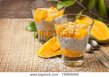 chia pudding with soy (coconut almond) milk and mango pieces in a glass (vegan gluten-free)
