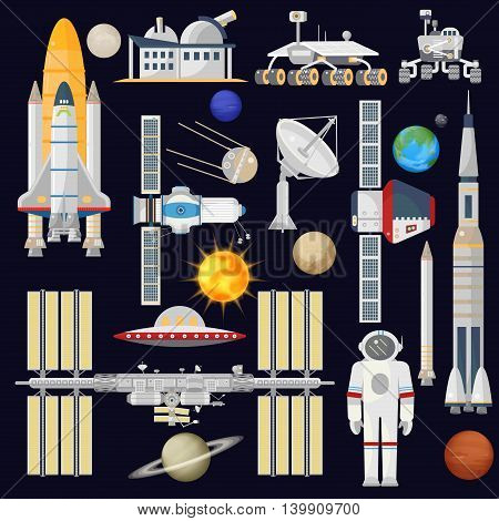 Spacecraft and space technology industry for infographic. Astronomy icon. Planets, Rockets, Satellites