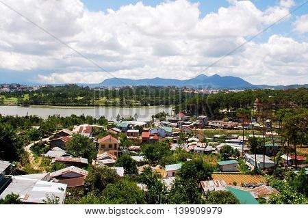 Houses near the Ho Xuan Huong lake, Da lat city, Vietnam
