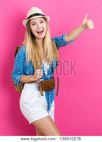 Happy Young Traveling Woman