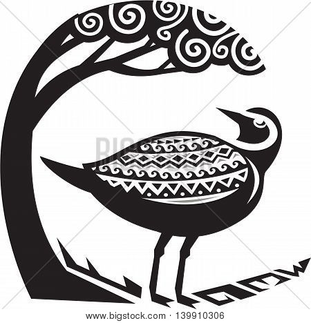 Tribal Art style illustration of a Pacific golden plover Pluvialis fluva or kolea a medium-sized plover standing looking up to a tree viewed from the side set inside circle.