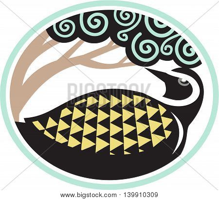 Tribal Art style illustration of a Pacific golden plover Pluvialis fluva or kolea a medium-sized plover looking up to a tree viewed from the side set inside oval shape.