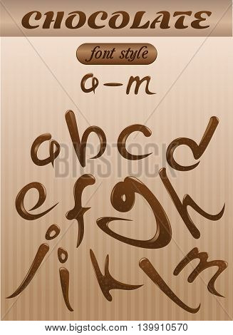 Vector letter of chocolate. letters of the latin alphabet made of chocolate. A - M. Font style.