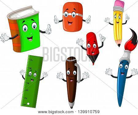 set of stationary cartoon for you design