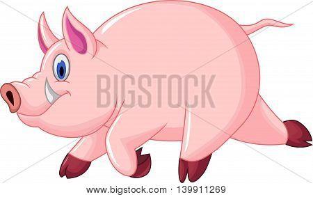 cute pig cartoon running for you design