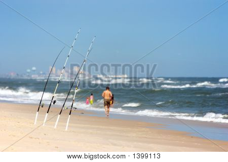 Angling Rods At The Beach