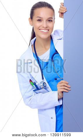 A female doctor with a blank billboard.