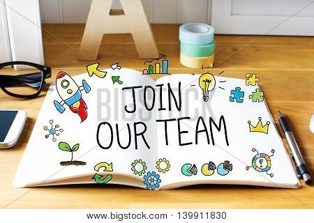 Join Our Team Concept With Notebook