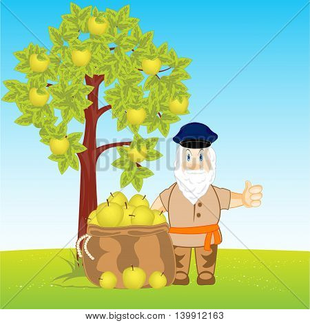 Horticulturist collects harvest an apple in bag, Vector illustration