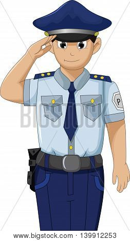 Police men in action respectable and saluting cartoon for your design