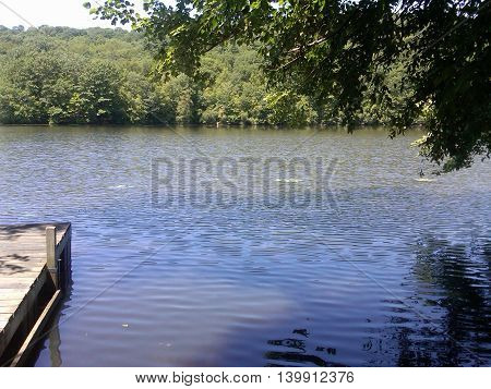 Quiet spot on the peaceful lake in New York state