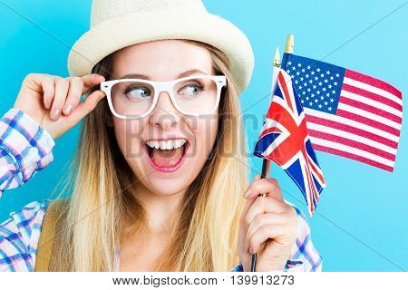 Woman With Flags Of English Speaking Countries