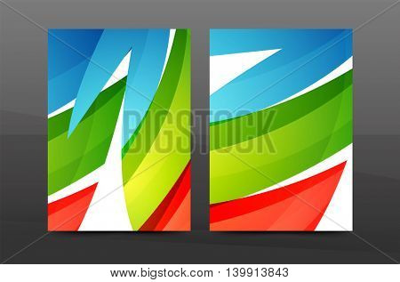 Color waves abstract background geometric A4 business print template. Brochure or annual report cover, vector business flyer layout, geometric abstract poster, identity illustration
