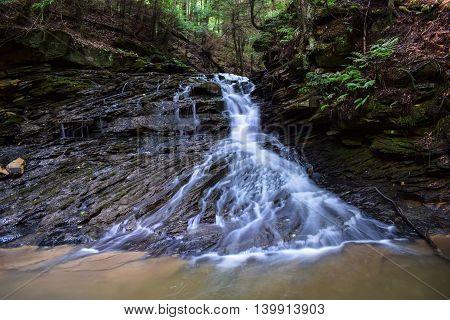 Waterfall in the Appalachian Mountains in Pennsylvania.