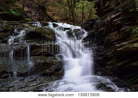 Waterfall on a small native trout stream in the Appalachian Mountains.