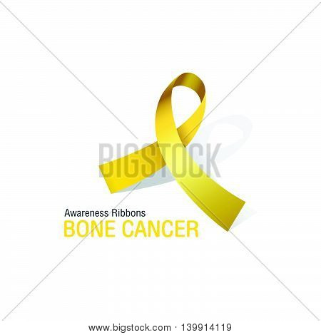 The Yellow Awareness Ribbons of Bone cancer Vector illustration.