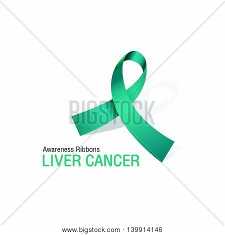 The Jade Awareness Ribbons of Liver cancer Vector illustration.