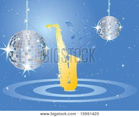 Abstract musical background with disco spere