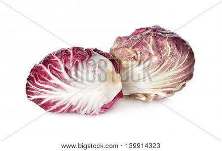 fresh red radicchio on a white background