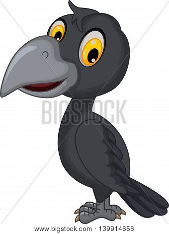 cute cartoon crow posing for you design