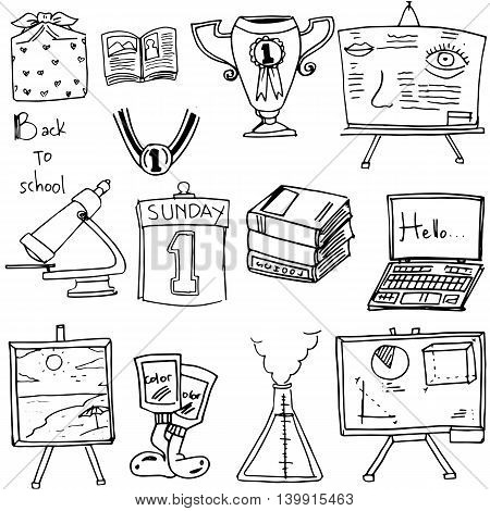 Back to school classroom supplies doodles illustration