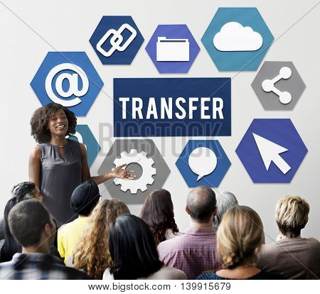 Transfer Transmission Word Graphic Concept