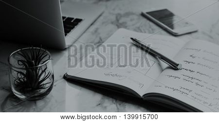 Planning Strategy Laptop Mobile Phone Book Concept