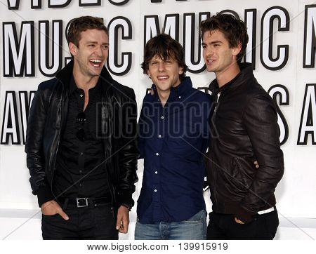 Justin Timberlake, Jesse Eisenberg, and Andrew Garfield at the 2010 MTV Video Music Awards held at the Nokia Theatre L.A. Live in Los Angeles, USA on September 12, 2010.