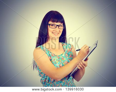 Young Woman  Sign The Document.
