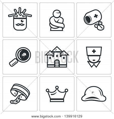Helmet, Patient, Pills, Magnifier, Cockroach, Castle, Nurse, Shackles, Crown, Napoleon Hat. poster