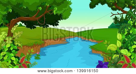 forest background with river for you design